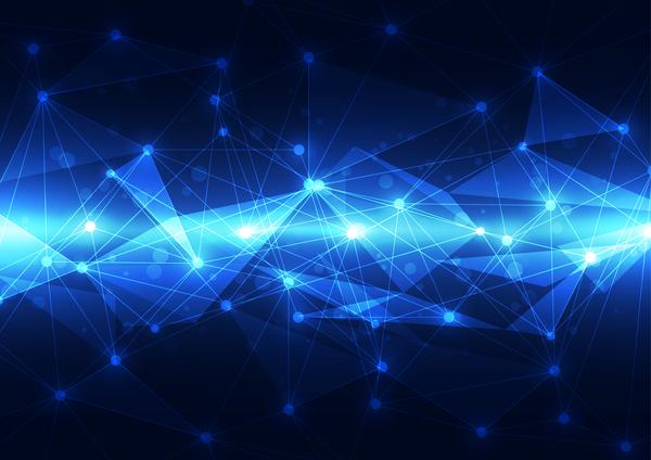tech polygon blue