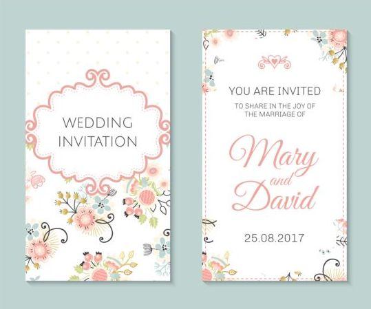 090gd4vpkxsbu11 Wedding invitation card template with floral vectors 04