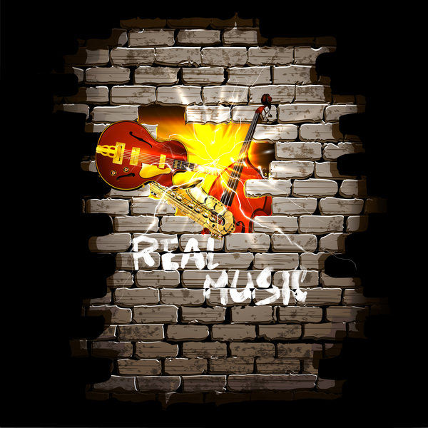 wall musical Jazz guitar brick