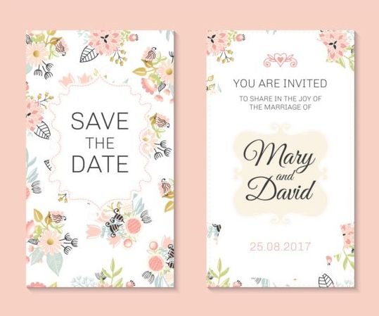 131h3lgujkowe11 Wedding invitation card template with floral vectors 02