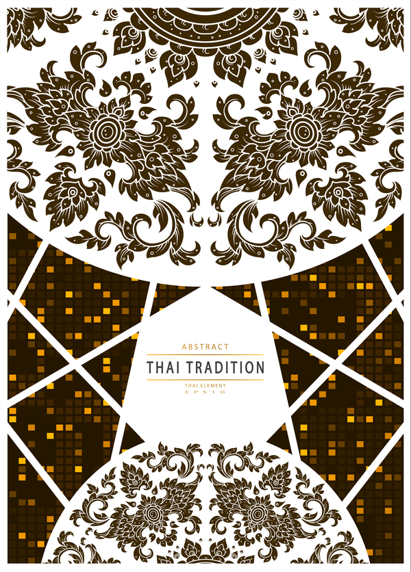 Tradition Thai pattern mosaic abstract