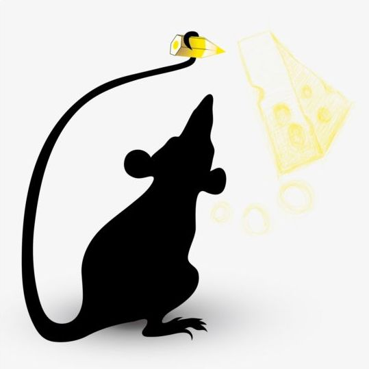 silhouette mouse cheese
