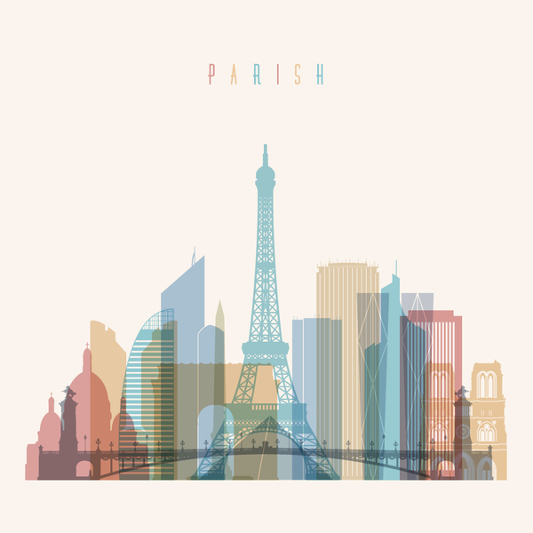 11mxt5gpuluc512 Paris building vector illustration