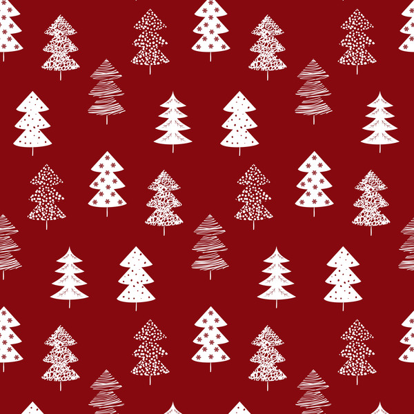 winter tree seamless pattern