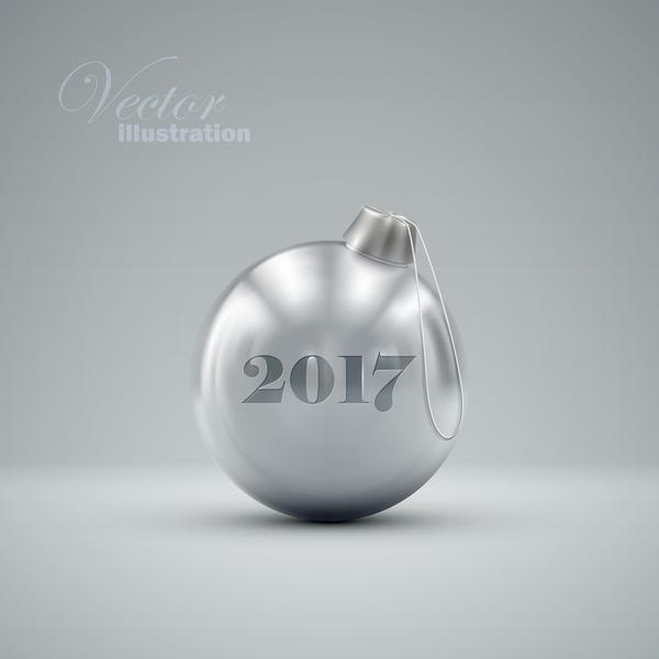 28inzncnecybf12 Luxury silver christmas ball vector 05