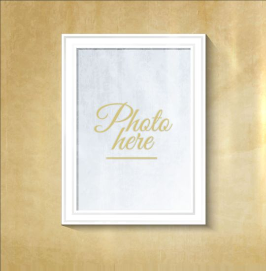 white wall photo frame beige