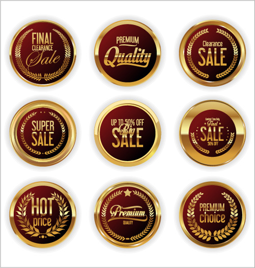353mlvekr4cmf14 Golden sale badge shiny vector 05