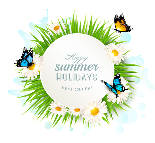 40qeecvl1bpm414 Summer holday background with green grass and butterflies vector 01