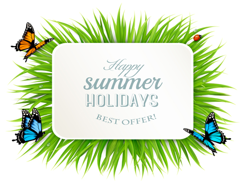 52wjlcg1l1gds14 Summer holday background with green grass and butterflies vector 05