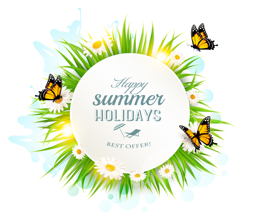 58ijket2unj3h14 Summer holday background with green grass and butterflies vector 04