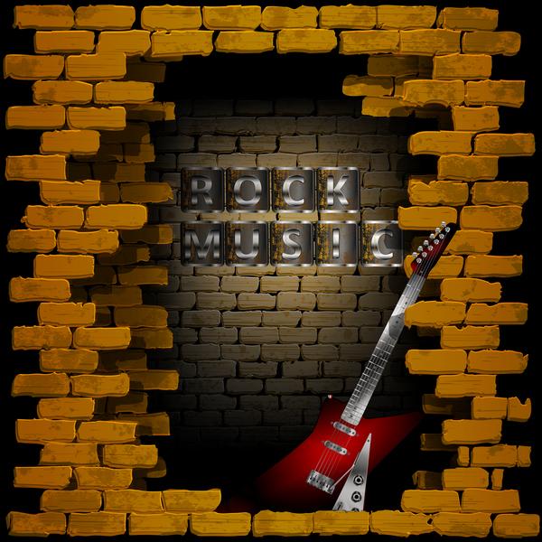 wall rock music guitar brick