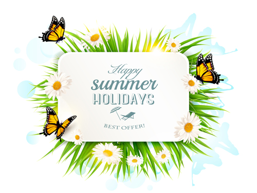 02whbuvsft1v315 Summer holday background with green grass and butterflies vector 03