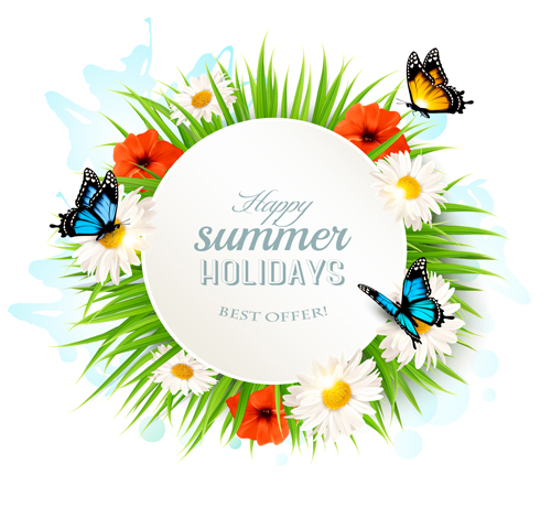 162dj3cr3wdus15 Summer holday background with green grass and butterflies vector 02
