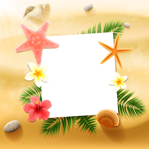45dbttdvlll1215 Shell with flower summer beach background vector 01