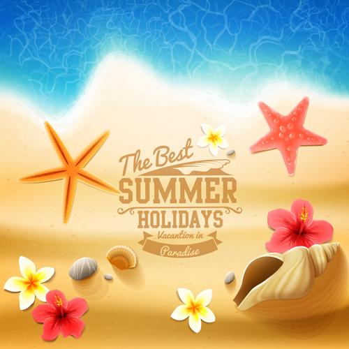 02qkat2jmwpam16 Shell with flower summer beach background vector 03