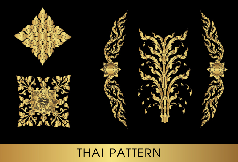 10uc1yqhbd1c216 Golden thai ornaments art vector material 10
