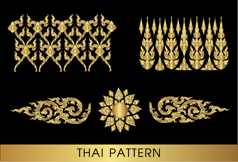 12pawv5uvxh4n16 Golden thai ornaments art vector material 08