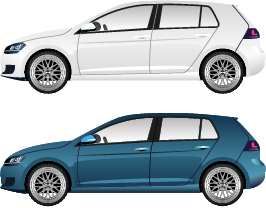 23qxneiarcnlr16 Blue with white car vector