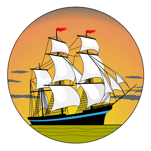 28zurlk3xkg1e16 Sunset with sailship vector material