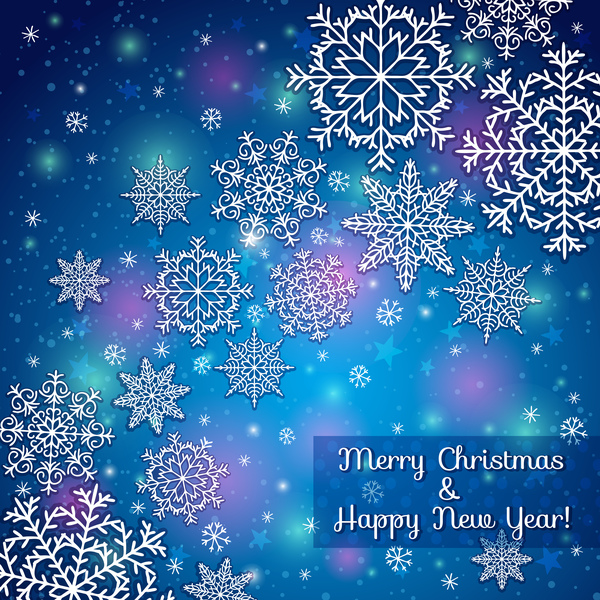 year snowflake new christmas blue