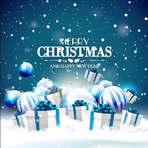 gift christmas card blue ball