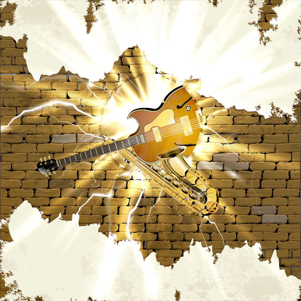 wall Sax Jazz guitar brick