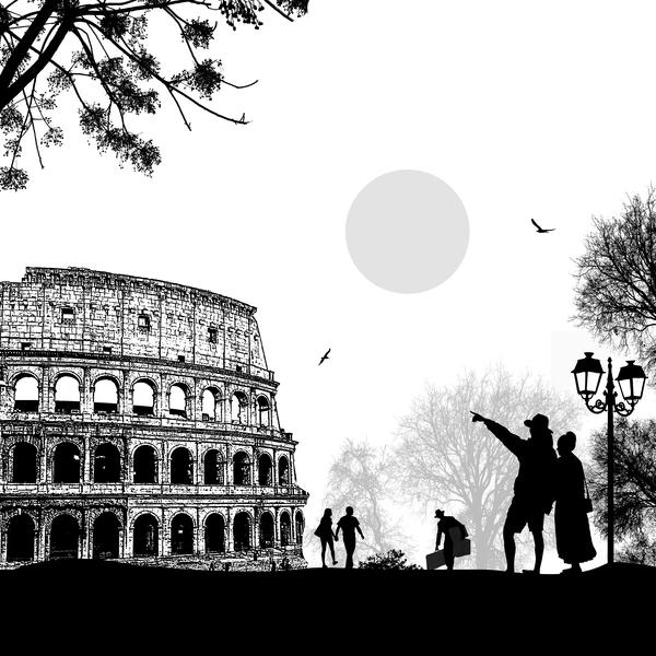 travel sunset Rome romantic couple