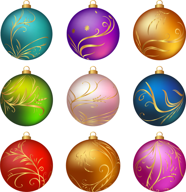 56aa430pesner25 Christmas ball with golden decor floral vector