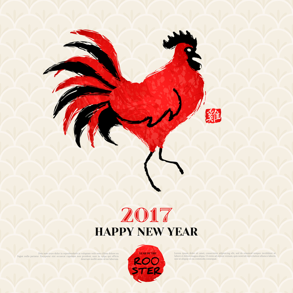 02tg5ns5txgdf27 2017 year of the rooster vector material 01