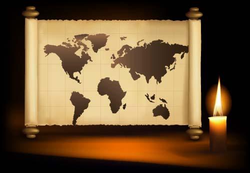 world map world scroll candle