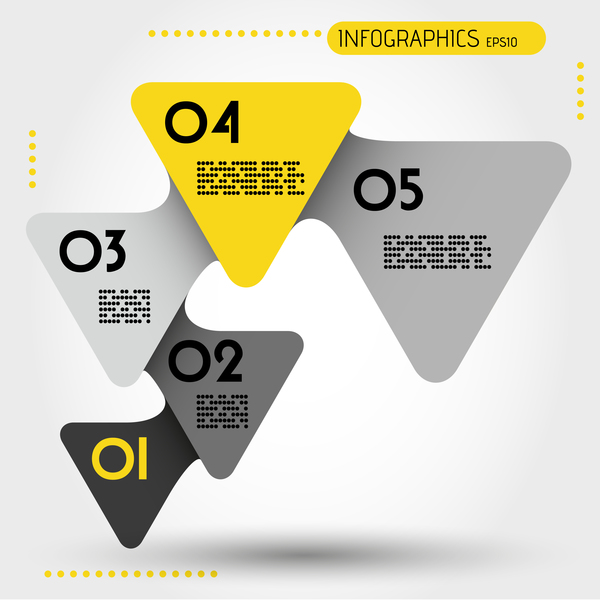 yellow triangles rounded infographic