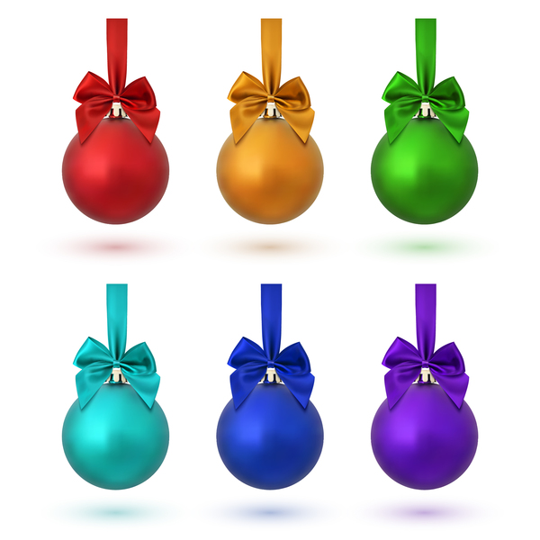 46hyycblimz2c28 Colored christmas ball wiht bow vector
