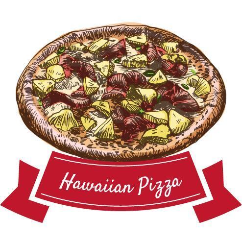 vintage pizza label Hawaiian