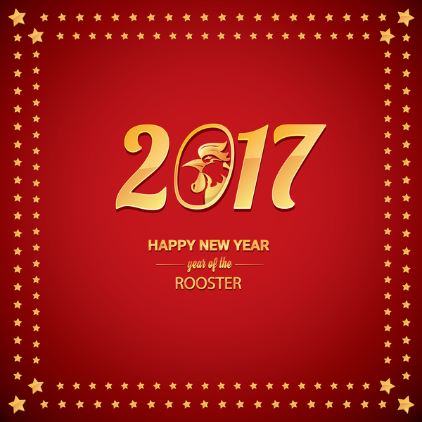 05tgafl1ercxx29 Chinese New Year 2017 with Rooster and red background vector 06