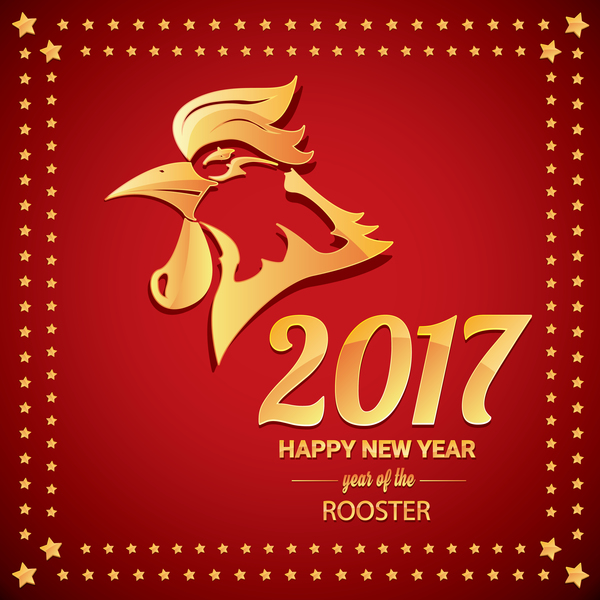 10un54eqnfeqs29 Chinese New Year 2017 with Rooster and red background vector 05