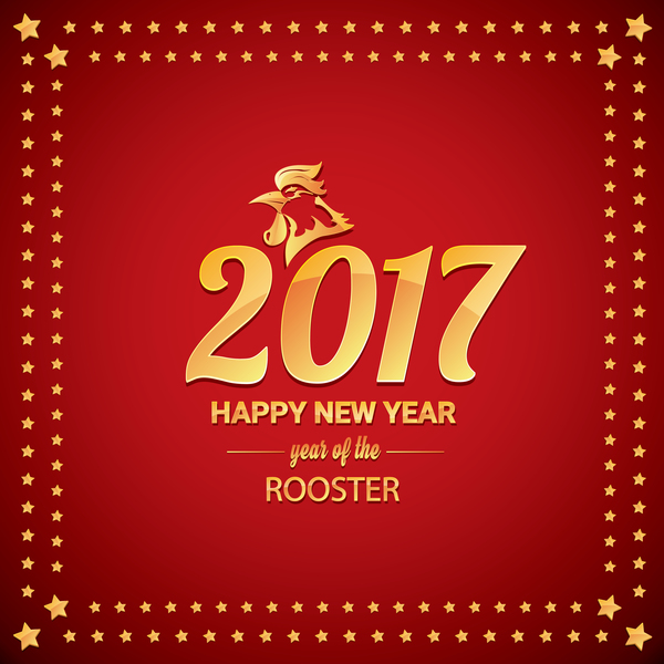 12bleowkw51vz29 Chinese New Year 2017 with Rooster and red background vector 04