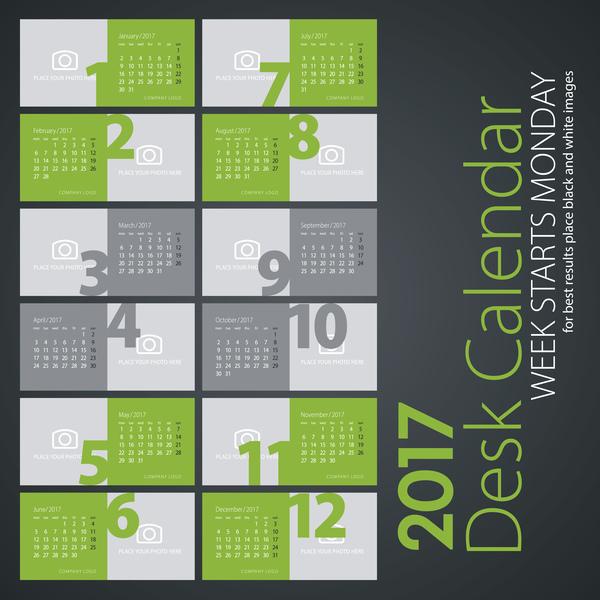 light green desk colored calendar 2017