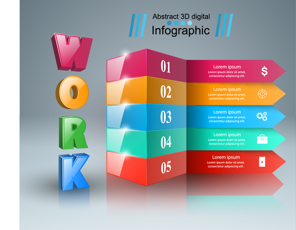 work infographic Five box