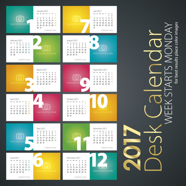 1653v1ix1a4gg33 Desk calendar 2017 colored vector