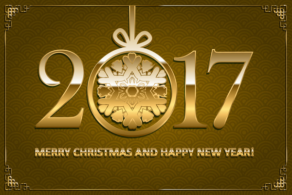 02bzphi5nzkez34 Happy new year with christmas 2017 golden text vector 08