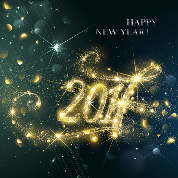 03wtur13nsstz34 2017 new year golden abstract background vector