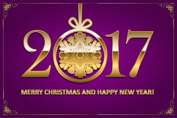 11jg55ldm4dey34 Happy new year with christmas 2017 golden text vector 05