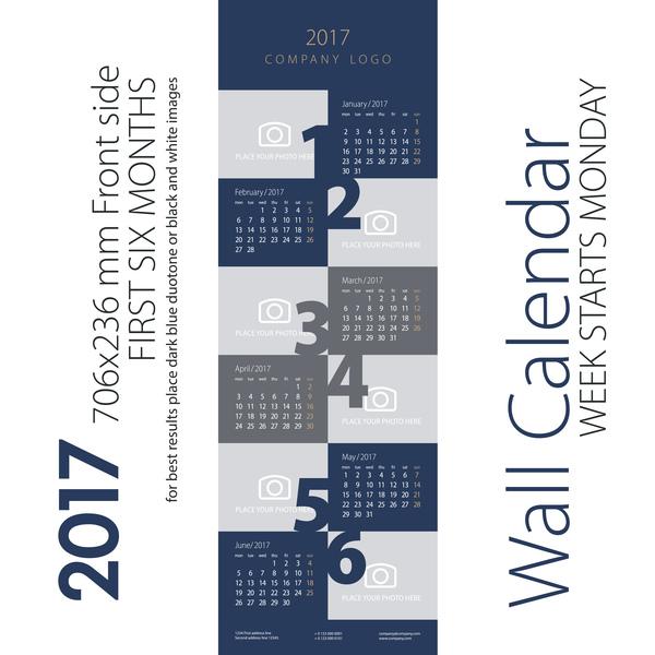 11mjwnfj1kv0m34 Calendar 2017 first six month dark blue gray vector