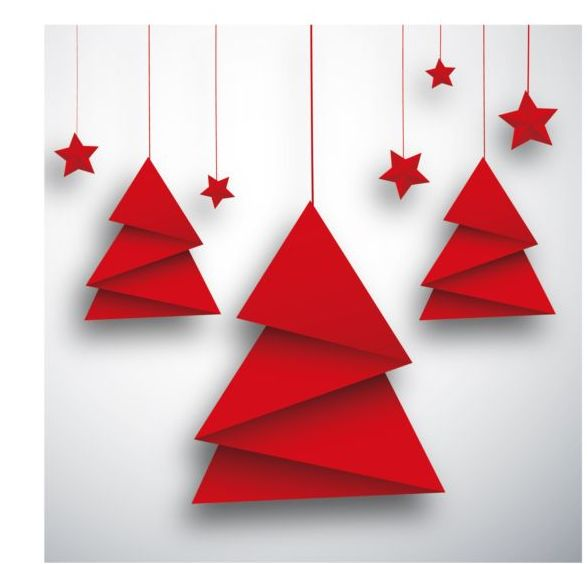 16i4rrnzygvyt34 Folped paper red christmas tree vectors