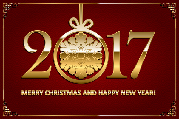 19o1oy4jro2gf34 Happy new year with christmas 2017 golden text vector 01