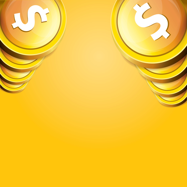 01hw35qworwdd35 Coins with golden business template vector 02