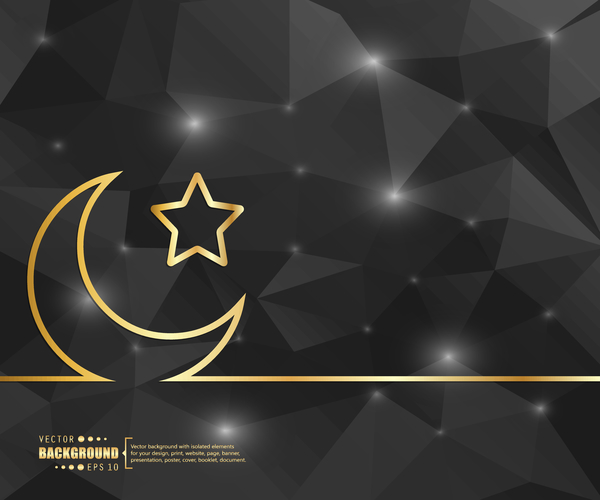 25kiqzsvwwd0235 Black polygon background with golden moon and star vector
