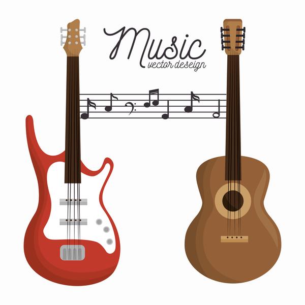 Retro font music guitar
