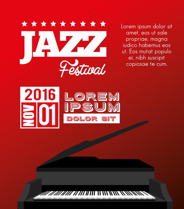 39x55d3msdgi235 Red jazz music background vector