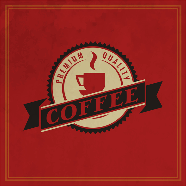 51zffsmfw0ask35 Retro coffee labels with red background vector 07